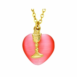 First Communion Heart and Gold Chalice Necklace