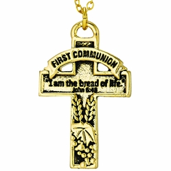 """First Communion  """"I am the Bread of Life"""" Antiqued Gold Plated Cross Necklace"""