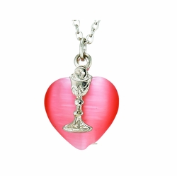 First Communion Red Heart with Silver Chalice Necklace