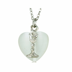 First Communion White Heart and Silver Plated Chalice Necklace