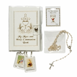 Girl's Communion Set with White Mass Book, Cloth Scapular, Rosary, and Pin