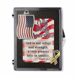 """""""God Bless America"""" Patriotic Appreciation Boxed Gift Set-Includes Verse Card, Keychain, and Lapel Pin"""