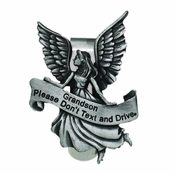 Grandson Please Don't Text and Drive Guardian Angel Visor Clip