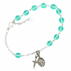 March Rosary Bracelet with Sterling Silver Medal and Crucifix Charms