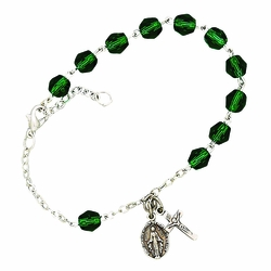 May Rosary Bracelet with Sterling Silver Medal and Crucifix Charms