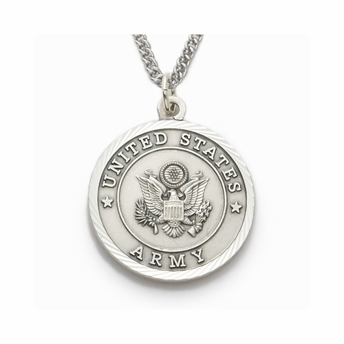 Men's Sterling Silver Army Medal, St. Michael on Back