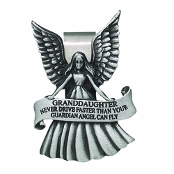 Never Drive Faster than your Guardian Angel Granddaughter Visor Clip