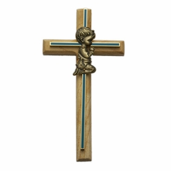 Oak\Brass Blue Screened Cross with Antique Gold Praying Boy