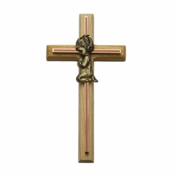 Oak\Brass Pink Screened Cross with Antique Gold Praying Girl