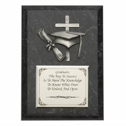 "Personalized 5""x7"" Wood Plaque With Fine Pewter Graduation Casting"
