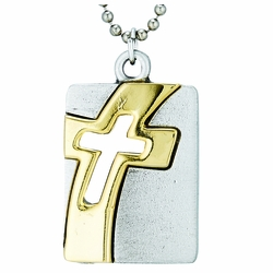 Pewter Two-Tone Pierced Cross Dog Tag Necklace