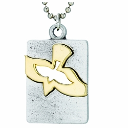 Pewter Two-Tone Pierced Descending Dove Dog Tag Necklace