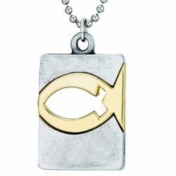 Pewter Two-Tone Pierced Fish Dog Tag Necklace