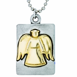 Pewter Two-Tone Pierced Guardain Angel Dog Tag Necklace