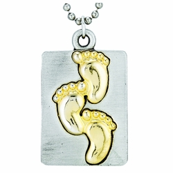 Pewter Two Tone Square Foot Prints Dog Tag Necklace