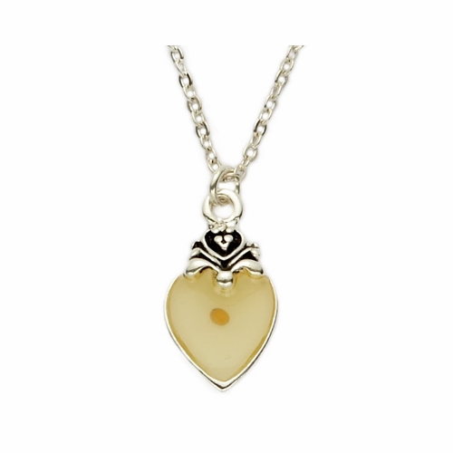 Silver Plated Heart Necklace with Mustard Seed