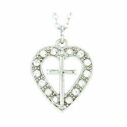 Silver Plated Pierced Heart and Cross Necklace with Crystal CZ Stones
