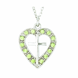 Silver Plated Pierced Heart and Cross Necklace with Peridot CZ Stones