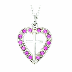 Silver Plated Pierced Heart and Cross Necklace with Rose CZ Stones