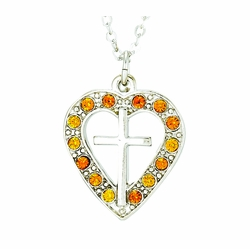 Silver Plated Pierced Heart and Cross Necklace with Topaz CZ Stones