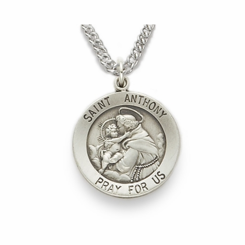 St. Anthony, Patron of Lost Articles, Sterling Silver Engraved Medal