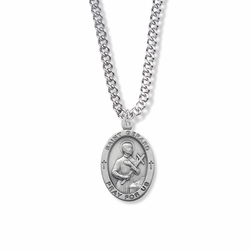 1 Inch Sterling Silver Oval St. Gerard Medal, Patron of Expectant Mothers
