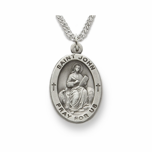 St. John Patron of Publishers, Sterling Silver Engraved Medal