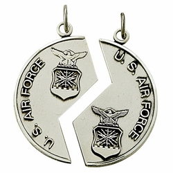 "Sterling Silver Air Force Mizpah Medal with Genisis ""18:24"" on Back"