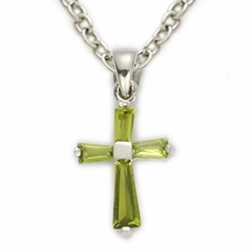 Sterling Silver August Peridot Birthstone Baby Cross Necklace
