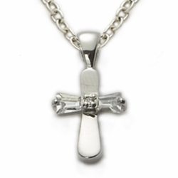 Sterling Silver Baby CZ Baquette  Stone Baby Cross
