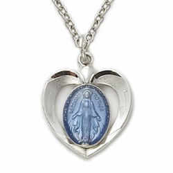 Sterling Silver Blue Enameled Heart Shaped Miraculous Medal