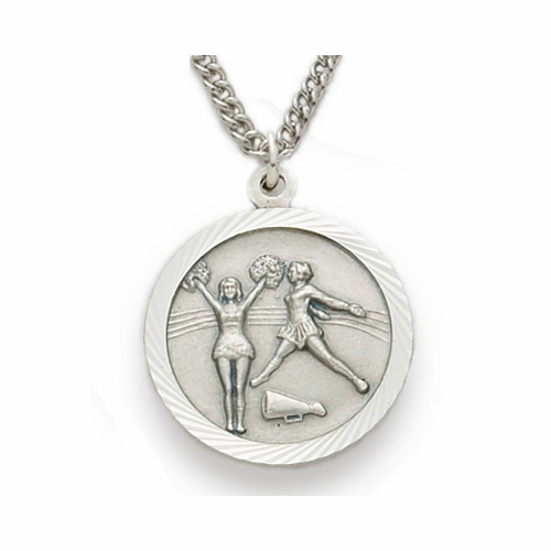 Sterling Silver Cheerleading Medal, St. Christopher on Back