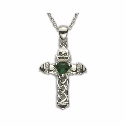 Sterling Silver Claddagh Cross with weaved pierced design and Centered Emerald Heart