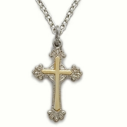3/4 Inch Two-Tone Sterling Silver Scroll Ends Cross Necklace