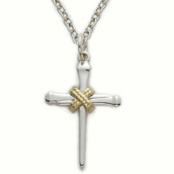 Sterling Silver Cross Necklace in a 2-Tone and Centered Nail Rope Design