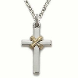 Sterling Silver Cross Necklace in a 2-Tone and Centered Rope Design