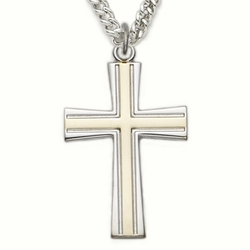 Sterling Silver Cross Necklace in a 2-Tone Design