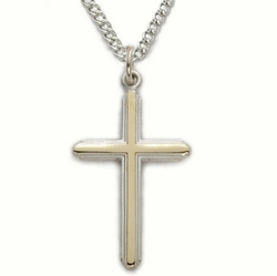 1 Inch Two-Tone Sterling Silver Lined Cross Necklace