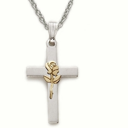 Sterling Silver Cross Necklace in a 2-Tone Design with Centered Enameled Rose