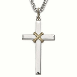 Sterling Silver Cross Necklace in a 2-Tone Design with Centered  Rope