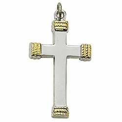 Sterling Silver Cross Necklace in a 2-Tone Polished Finish and Rope Ends Design