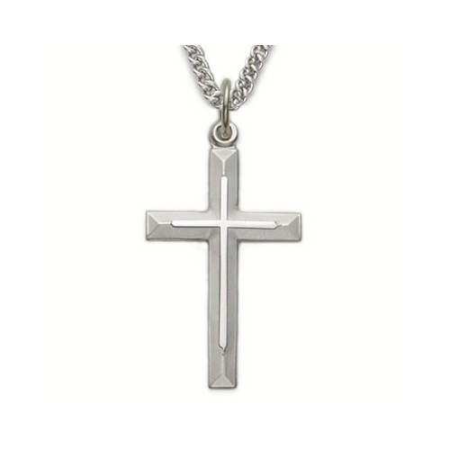 Sterling Silver Cross Necklace in a Bevelled Design