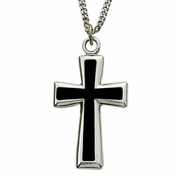 Sterling Silver Cross Necklace in a Black Enameled and Silver Border Finish