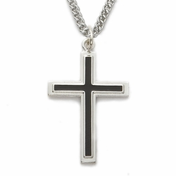 Sterling Silver Cross Necklace in a Black Enameled Design