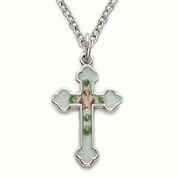 Sterling Silver Cross Necklace in a Enameled Rose and Budded Ends Design