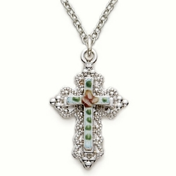 Sterling Silver Cross Necklace in a Filigree and Enameld Inner Cross Design