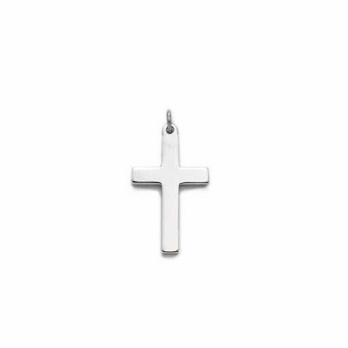 Sterling Silver Cross Necklace in a Plain Style Design
