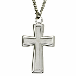Sterling Silver Cross Necklace in a Polished Edge Flared Design