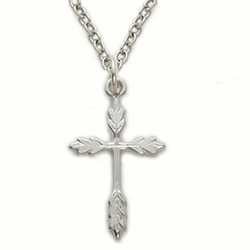 Sterling Silver Cross Necklace in a Wheat Ends Design