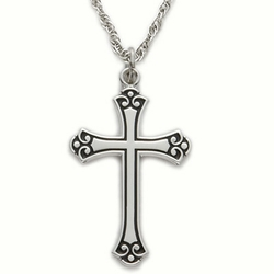 1-1/8 Inch Sterling Silver Antiqued Budded Ends Cross Necklace